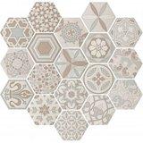 Hexagon decor wandtegel Vodevil Decor Ivory 17,5x17,5 cm - impressie