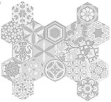 Hexagon wandtegel Vodevil Decor White 17,5x17,5 cm - impressie