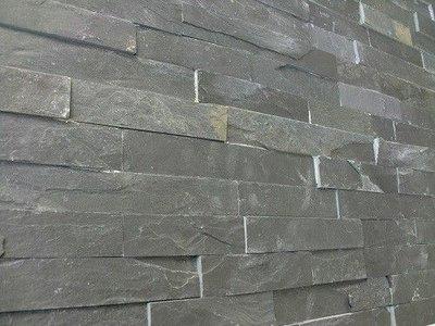 Tegelstroken Schiste flatface stonepanel antraciet slate 15x60x1/2
