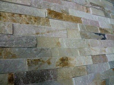 Tegelstroken Schiste flatface stonepanel beige slate 15x60x1/2