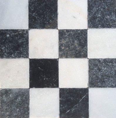 Vloertegel Dambord vloer wit marmer en Turks hardsteen anticato 10x10x1