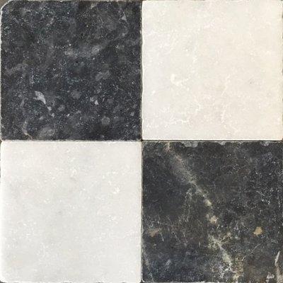 Vloertegel Dambord vloer wit marmer en Turks hardsteen anticato 20x20x1