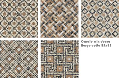 Vloertegel Terrazzo tegels Casale Borgo cotto 25x25 MIX