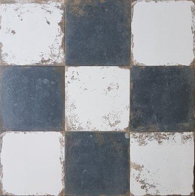 Tegel Antique Black/White dambord 33,3x33,3