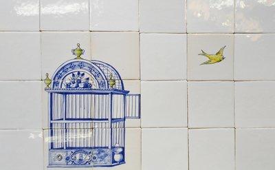 Tegeltableau Vogelkooi en vogeltje