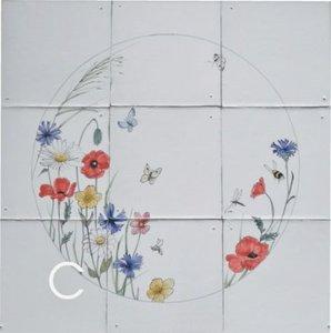Tegeltableau bloemen C