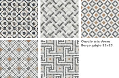 Vloertegel Terrazzo tegels Casale Borgo grigio 25x25 MIX