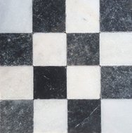 Dambordvloer wit marmer turks hardsteen